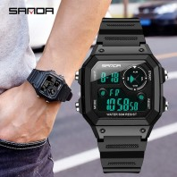 SANDA Men Sports Watches Fashion Chronos Countdown Men's Waterproof LED Digital Watch Man Military Clock