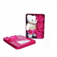 Valentine Day Love Gift Box with 3 Flowers And Soft Teddy-Gift Box 5039