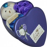 Valentine Day Love Gift -Heart Shape Gift Box (Flowers With Soft Teddy)5058