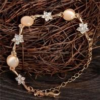 New Fashion Gold Color Charm Bracelet For Women Flower Bracelet 5059