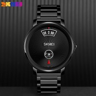 SKMEI Business Men Quartz Watch Simple Style Wristwatches Waterproof Stainless Steel/Leather Brand Black Colors 1490 Watch Men 3375