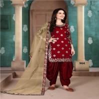 Art Silk Embroidered Punjabi Suit Blue & Red