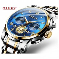 OLEVS Watch Men Quartz Date Tourbillon Chronograph Stainless Steel Top Brand Hollow Waterproof Watches Luxury Fashion Clock