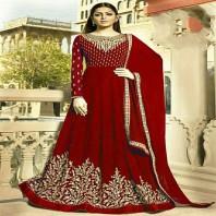 Drashti Dhami Red Embroidered Bollywood Anarkali Salwar Suit