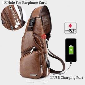 Men Outdoor Shoulder Chest Bag Travel Daypack with USB Charging Port-124