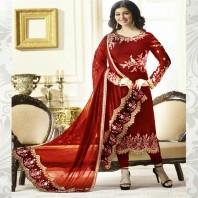 Georgette Straight Salwar Kameez Embroidered Ladies Suits