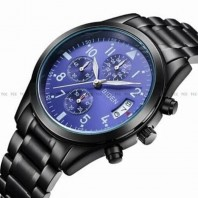 BIDEN Men's Watches Fashion Luxury Brand All Steel Black Wristband Watch Casual Men Quartz Waterproof Clock Automatic Date Chronograph Watch 3330