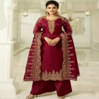 Deep Red and Gold Embroidered Satin Palazzo 4667
