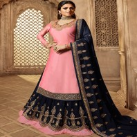 Drashti Dhami Pink Embroidered Kurti Style Lehenga 4668