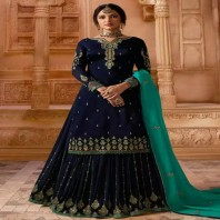 Satin Georgette Sharara Dress Navy Blue Color Stone Work 4671