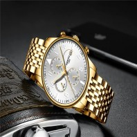 Luxury Brand Watch Mens Quartz Stainless Clock Fashion Chronograph 3386