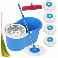 Stainless Steel Eight Rotating Mop-Multicolor