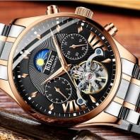 Biden PORUIS BIDEN Men's Business Machinery Perspective Hollow Flywheel Leather and Stainless Steel Strap Watch 3392
