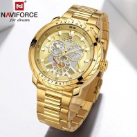 NAVIFORCE NF9158 Golden Stainless Steel Chronograph Watch For Men - Golden 3263