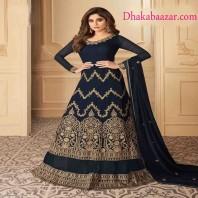 Shamita Shetty Navy Blue Color Georgette Designer Anarkali Suit