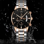 Rose Gold Color Men Watch Luxury Top Brand Mens Watch Fashion Dress New Military Quartz Wristwatch Hot Clock Male Sport NIBOSI 3324