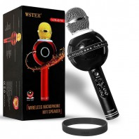 Wster WS-878 Handheld Bluetooth Microphone with Speaker for Cellphone (Black) -2120