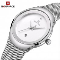 NAVIFORCE NF5004 Silver Mesh Stainless Steel Analog Watch For Women - White 3229