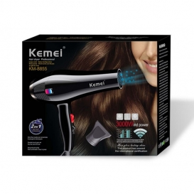 Kemei KM-8893 Rechargeable Hair Dryer - Black and Red140