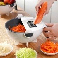New 11 in 1 Multifunction Magic Rotate Vegetable Cutter with Drain Basket Vegetables Chopper Veggie Slicer Kitchen Tool with 8 Dicing Blades