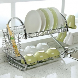 2 Tiers Kitchen Dish Cup Drying Rack-2553