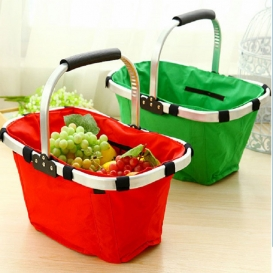 Fabric Lightweight Insulated Foldable Picnic Tote Basket-2567
