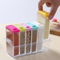 Kitchen Spice Containers with Colorful Lid Seasoning Box 6 Pieces Set-2588
