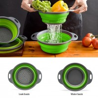 2pcs Set Foldable / Collapsible Food-grade Safety Silicone Filter Strainers Baskets with Handle ,Collapsible Filter Basket.