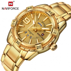 Stylish mens watch water resistant Golden-3005