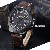 Naviforce Black Leather Quartz Wrist Watch for Men-3031