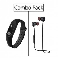 Bingo M2 Smart Band & Stereo Super Bass Wireless Earphone Combo-3042