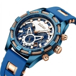 Men's Watches Business Fashion Mini Focus Chronograph Waterproof Dress Analog Quartz Wrist Watch with Silicone Band Blue -3110