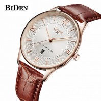 BIDEN Fashion Ultra-thin Men Watch Top Brand Luxury Genuine Leather Quartz Style-3127