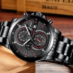 Share Auto Date Quartz Watch High Quality Water Resistant Wristwatch Simple Stainless Steel Band Watch For Men-3130