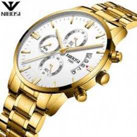 NIBOSI Mens Chronograph Quartz Wristwatch Golden 3300