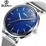 BIDEN Simple Calendar Men Steel Mesh Band Watch with Box - Blue 3331