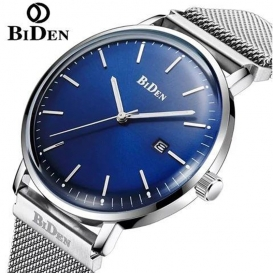 BIDEN Simple Calendar Men Steel Mesh Band Watch with Box - Blue 3331