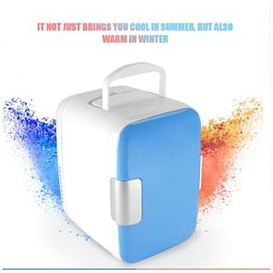 4L Mini Car Fridge Freezer Cooler Warm Use 12V Portable Icebox Travel Refrigerator for Camping Driving Blue-2618