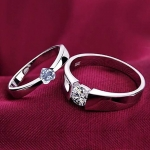 Magic Stones Silver Platinum and Rhodium Plated Elegant Love Couple Ring for Men and Women - Set of 2 -jw5004