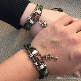 Couple Leather Bracelets for Lovers Key Lock Charm Bracelets-jw5016