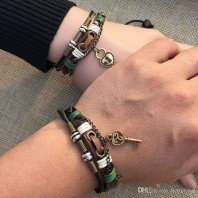 Couple Leather Bracelets for Lovers Key Lock Charm Bracelets-jw5016