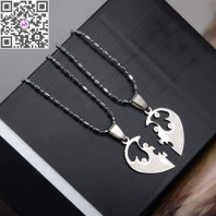 Fashion 1 Pair Titanium Steel Heart Shape Pendant Necklaces Men Women Couple Lover I Love You Necklace Jewelry Gifts-jw5024