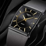 New Square Watch Men Top Brand Luxury Mesh Strap Fashion Dress Wrist Watch Analog Quartz-watch Montre Homme Man Clock-3298