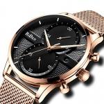 BIDEN Fashion Men Luxury Stainless Steel Mesh Band Watch - Rose Gold Band Black Dial 3333