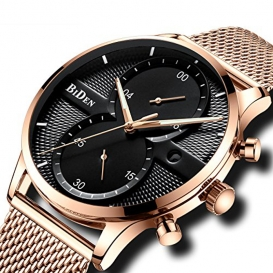 BIDEN Fashion Men Luxury Stainless Steel Mesh Band Watch - Rose Gold Band Black Dial 3333