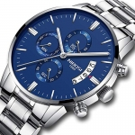 NIBOSI Men's Watches Chronograph Waterproof Military Quartz Luxury Wristwatches for Men Blue Color 3328