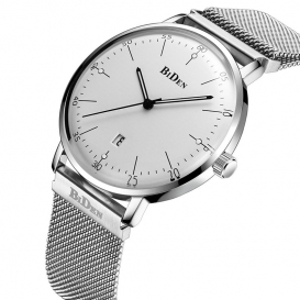 BIDEN Analogue Display Stainless Steel Band Waterproof Watch for Men Silver and White--3133