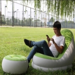 Bestway Single Sofa Inflatable Relaxing Air Chair + Foot Rest Lounge (Light Green) - Premium-704