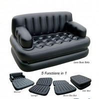 5 in 1 Multifunction Inflatable Fasion Air Sofa Queen Double Bed Mattress - (Black) - Premium-705