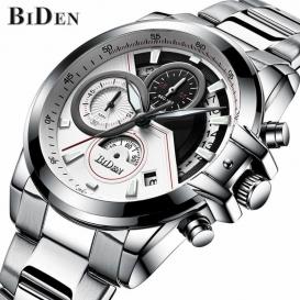 BIDEN brand mens business wristwatches stainless steel quartz man watches -3088